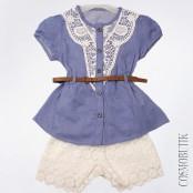 Ажурные шорты с ремнем и удлиненная блуза