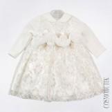 Нарядное молочное платье с длинным рукавом