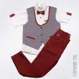 Костюм из рубашки с бабочкой жилета и брюк