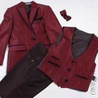 Костюм нарядный бордовый из пиджака, бабочки, жилета  и классических брюк