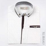 Рубашка с коротким рукавом белая с синим