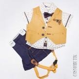 Сине-горчичный костюм из рубашки, жилета, бабочки и  шорт с подтяжками