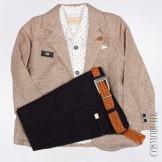 Костюм для мальчика с коричневым пиджаком