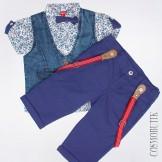 Разноцветный костюм из рубашки, жилета, бабочки и  шорт-бермуд с подтяжками