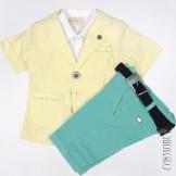 Костюм из рубашки, пиджака и шорт-бермуд с ремнём