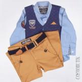 Бежево-синий жилетный костюм для мальчика из хлопка