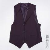 Строгий тёмно-синий костюм из жилета и классических брюк