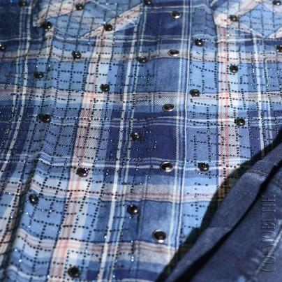 Женская рубашка в голубую клетку