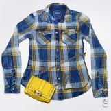 Синяя женская рубашка в желтую клетку