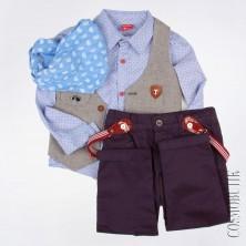 Костюм жилетный хлопковый для мальчика Popolin-2149