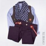 Костюм для мальчика разноцветный хлопковый с шарфом