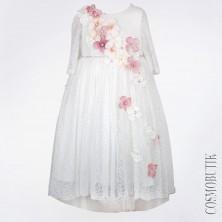 Платье с объемными цветами