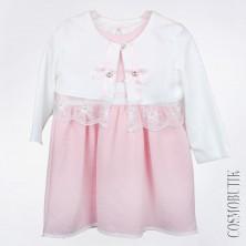 Розово-малочное платье с болеро