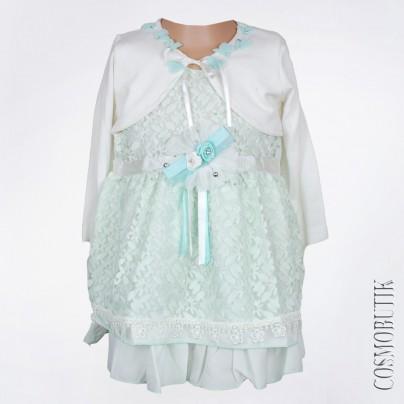 Ажурное мятное платье для девочки