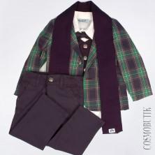 Костюм для мальчика с пиджаком в клетку и шарфом
