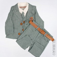 Зеленый костюм в клетку с пиджаком и галстуком