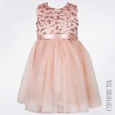Персиковое платье с атласным бантом и поетками