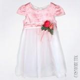 Нарядное платье с цветами и коротким рукавом