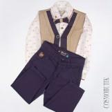 Натуральный костюм из рубашки с бабочкой, жилета и брюк