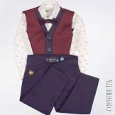 Костюм для мальчика с бордовым жилетом