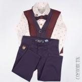 Костюм с синими брюками и бордовым жилетом