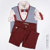 Костюм с бордовыми брюками и серым жилетом