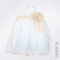 Бело-желтое платье с коротким рукавом