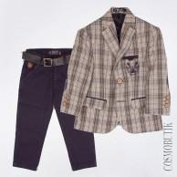 Костюм сине-серый из пиджака и брюк с ремнём