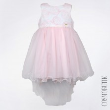 Бело-розовое платье со шлейфом