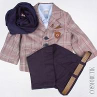 Праздничный костюм из пиджака, рубашки, брюк с ремнём, бабочки и шарфа