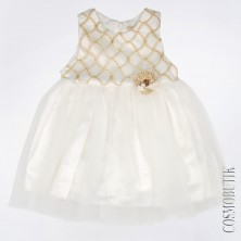Бело-золотое платье с коротким рукавом
