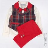 Костюм с яркими красными брюками