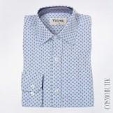 Рубашка голубая с длинным  рукавом приталенного силуэта