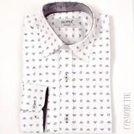 Рубашка белая приталенная с длинным  рукавом