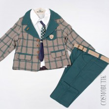 Костюм для мальчика с зелеными брюками и пиджаком в клетку