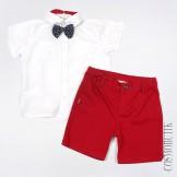 Красно-белый костюм из рубашки с бабочкой, рубашки и шорт