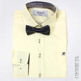 Рубашка кремовая приталенная с длинным  рукавом и бабочкой в комплекте