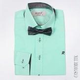Рубашка мятная с длинным  рукавом и бабочкой в комплекте