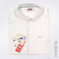 Белая однотонная рубашка для мальчика с длинным рукавом