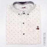 Белая хлопковая рубашка для мальчика с длинным рукавом
