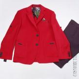 Пиджачный костюм для мальчика красный с синим