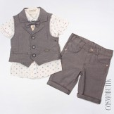 Костюм летний серый из рубашки с коротким рукавом, бабочки, жилета и шорт