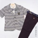 Комплект из рубашки, льняного пиджака и хлопковых брюк с ремнём