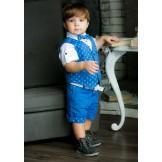 Синий жилетный костюм для мальчика