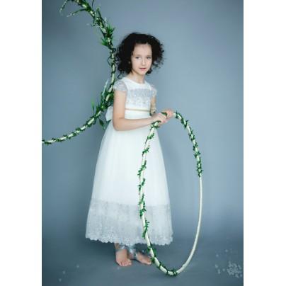 Платье в пол с завышенной талией