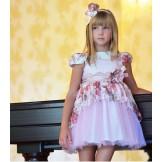 Розовое платье с баской и ободком