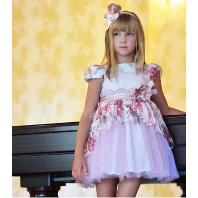 Розовое платье для девочки с баской и ободком