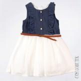 Платье джинсовое сине-белое