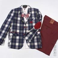Костюм из хлопкового пиджака, рубашки с длинным рукавом, бабочки и боюк