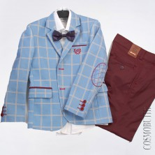 Костюм на выпускной с бордовыми брюками и пиджаком в клетку